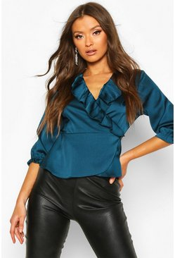 Womens Teal Satin Ruffle Wrap Top