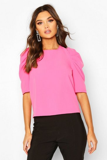 Hot pink Woven Puff Sleeve Shell Top