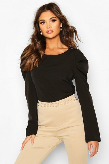 Womens Black Woven Puff Sleeve Long Sleeved Shell Top
