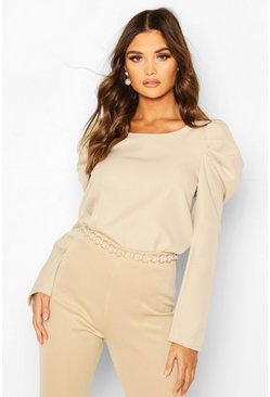Woven Puff Sleeve Long Sleeved Shell Top, Stone, FEMMES