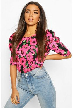 Pink Floral Puff Sleeve Shell Top
