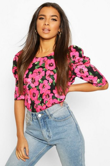 Womens Pink Floral Puff Sleeve Shell Top