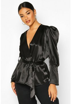 Womens Black Satin Puff Sleeve Wrap Top