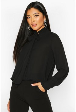 Womens Black Ruffle High Neck Tie Blouse