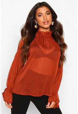 Womens Rust Dobby Spot Cold Shoulder High Neck Top