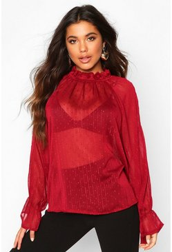 Wine Dobby Spot Cold Shoulder High Neck Top