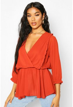 Womens Rust Ruffle Front Wrap Top