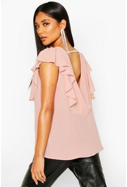 Dam Rose Ruffle Sleeve Wrap Back Top