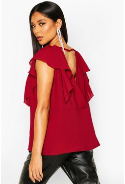 Womens Wine Ruffle Sleeve Wrap Back Top