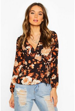 Black Floral Wrap Ruffle Blouse