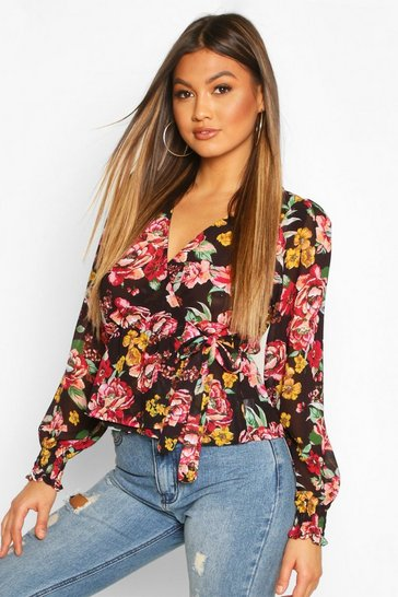 Womens Black Floral Shirred Cuff Wrap Top