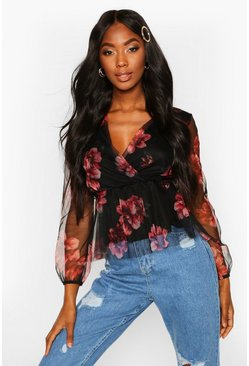 Womens Black Floral Organza Wrap Top
