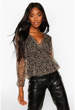 Leopard Organza Wrap Top, Natural, ЖЕНСКОЕ