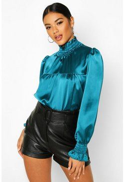 Womens Teal Satin High Neck Shirred Cuff Top