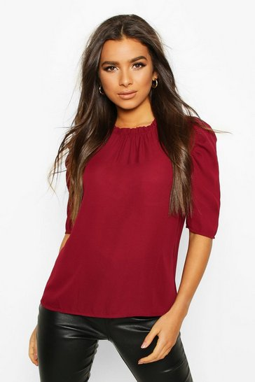 Womens Wine High Neck Ruffle Detail Puff Sleeve Top