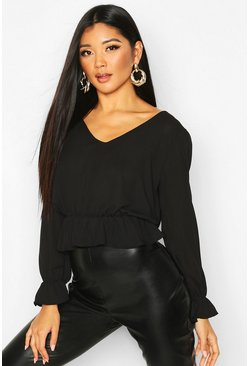 Womens Black Flare Cuff V Neck Peplum Top