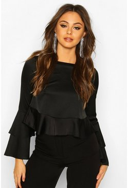 Womens Black Satin Double Ruffle Peplum Blouse