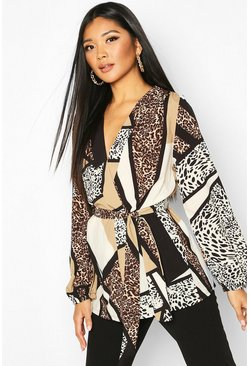 Animal Print Wrap Blouse, Natural