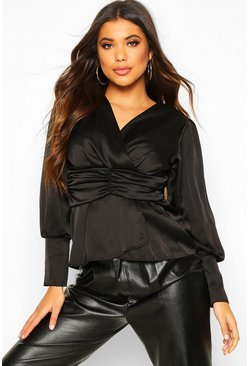 Black Satin Ruched Front Blouse