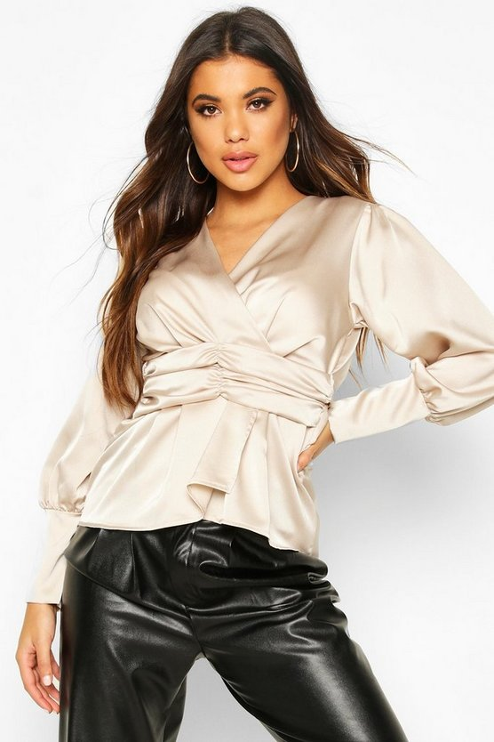 Champagne Satin Ruched Front Blouse