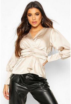 Womens Champagne Satin Ruched Front Blouse