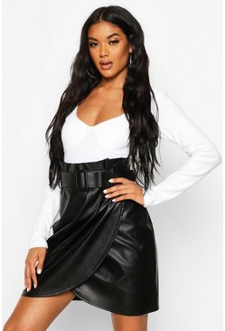 Leather Look Wrap Front Mini Skirt, Black, Femme