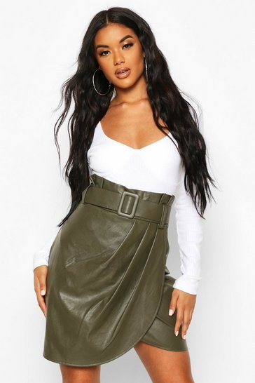 Forest Leather Look Wrap Front Mini Skirt