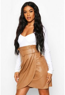 Leather Look Wrap Front Mini Skirt, Sand