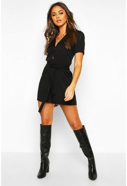Black Utility Button Front Playsuit