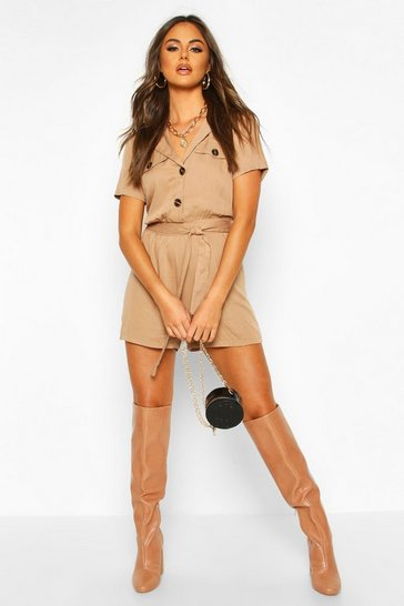 Stone Utility Button Front Playsuit