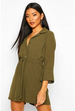Khaki Flare Sleeve Button Front Romper