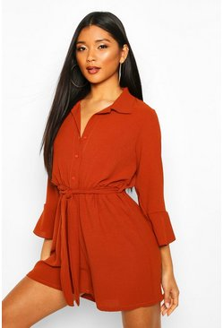 Flare Sleeve Button Front Playsuit, Terracotta