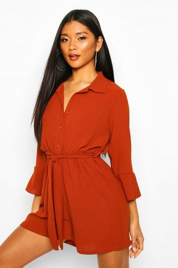 Womens Terracotta Flare Sleeve Button Front Playsuit