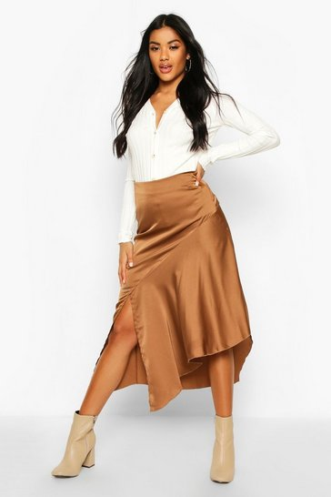 Womens Tobacco Satin Asymetric Hem Midi Skirt