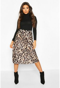 Womens Leopard Satin Slip Midi Skirt
