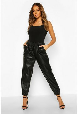 Womens Black Seam Front Leather Look Luxe Joggers