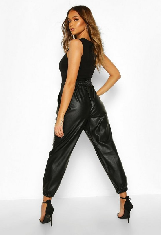 Seam Front Leather Look Luxe Joggers