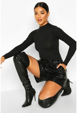 Womens Black Leather Look Tie Waist Shorts