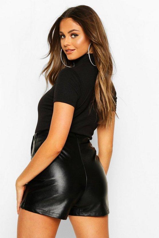 Leather Look Tailored Skort