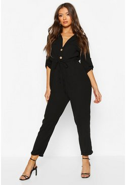 Black Utility Button Front Boiler Suit