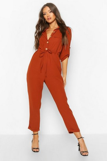 Womens Terracotta Utility Button Front Boiler Suit