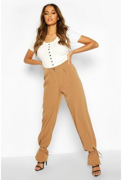 Tie Ankle Tailored Trousers, Sand, FEMMES