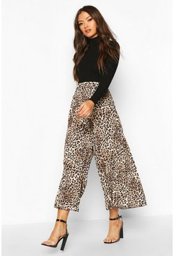 Womens Leopard Pleated Wide Leg Culottes