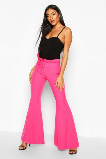 Womens Magenta Paperbag Waist Belted Wide Leg Flare Trouser