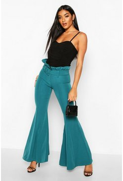 Teal Paperbag Waist Belted Wide Leg Flare Pants