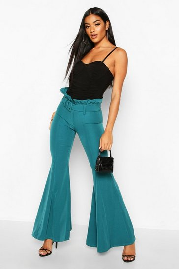 Teal Paperbag Waist Belted Wide Leg Flare Trouser