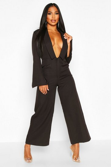 Black Tailored Plunge Front Wide Leg Culotte Jumpsuit