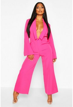 Magenta Tailored Plunge Front Wide Leg Culotte Jumpsuit