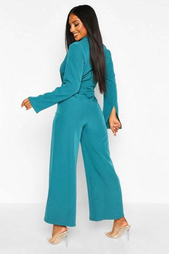 Tailored Plunge Front Wide Leg Culotte Jumpsuit
