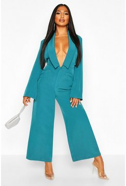 Teal Tailored Plunge Front Wide Leg Culotte Jumpsuit
